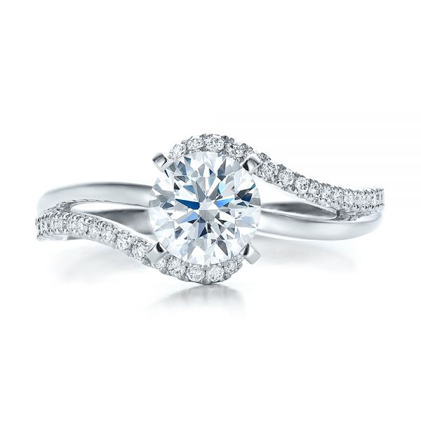 14k White Gold Contemporary Wrapped Split Shank Diamond Engagement Ring - Top View -  100402