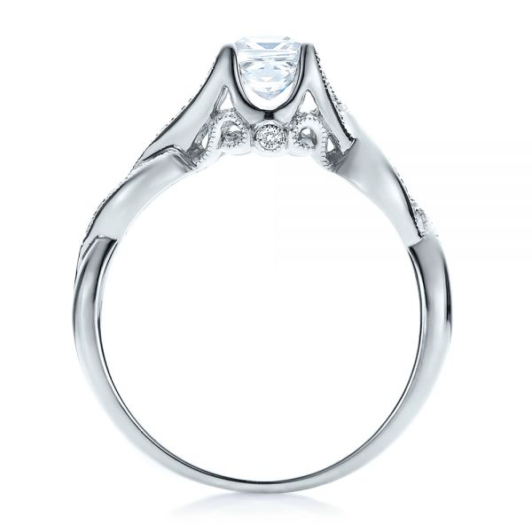 18k White Gold Criss-cross Shank Engagement Ring - Vanna K - Front View -