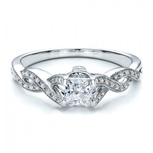Criss-Cross Shank Engagement Ring - Vanna K