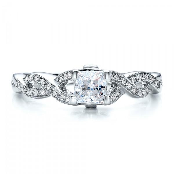 Criss-Cross Shank Engagement Ring - Vanna K - Top View