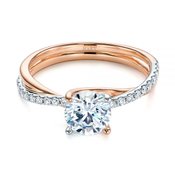 18k Rose Gold And Platinum 18k Rose Gold And Platinum Criss Cross Two Tone Diamond Engagement Ring - Flat View -  105329
