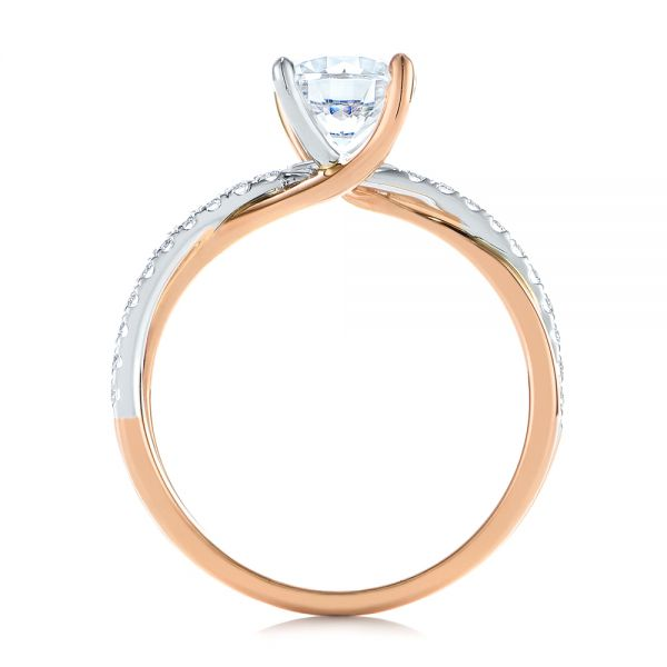 18k Rose Gold And Platinum 18k Rose Gold And Platinum Criss Cross Two Tone Diamond Engagement Ring - Front View -  105329