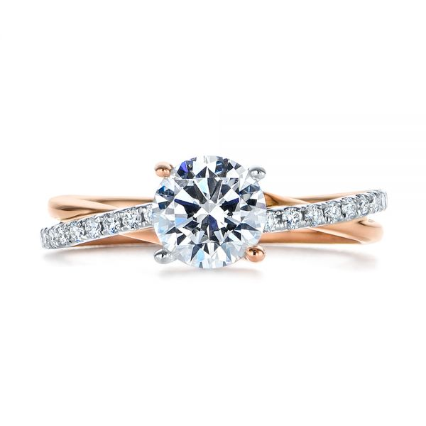 18k Rose Gold And Platinum 18k Rose Gold And Platinum Criss Cross Two Tone Diamond Engagement Ring - Top View -  105329