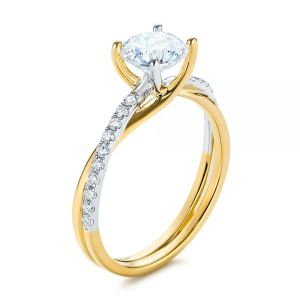 Criss Cross Two Tone Diamond Engagement Ring - Image