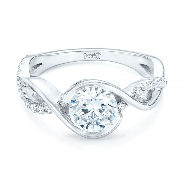 Criss-Cross Wrap Diamond Engagement Ring - Flat View -  102477 - Thumbnail