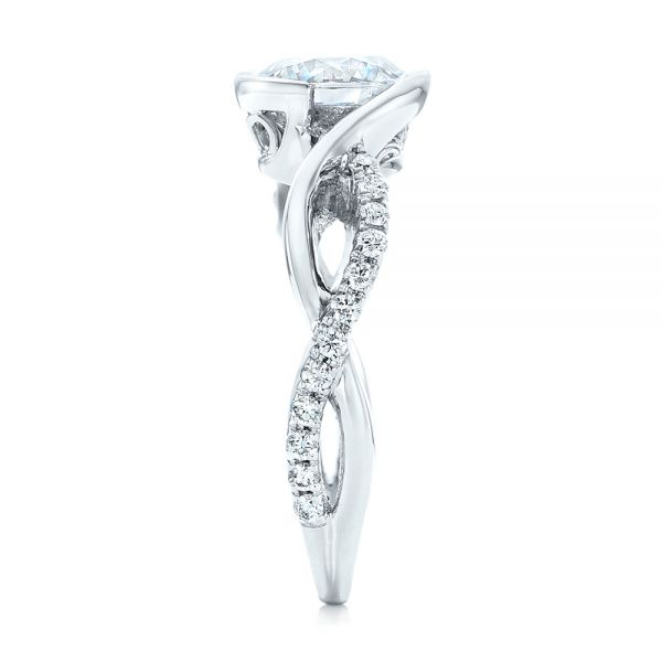 Criss-Cross Wrap Diamond Engagement Ring - Side View -  102477 - Thumbnail