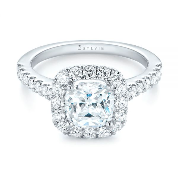 Cushion Halo Diamond Engagement Ring - Flat View -  103993 - Thumbnail