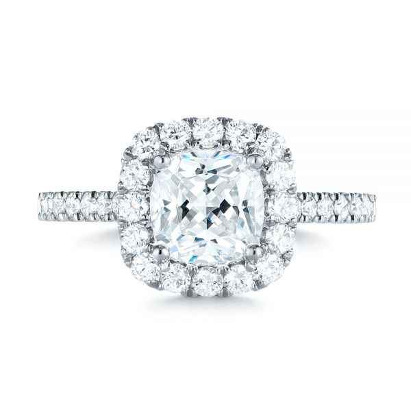 Cushion Halo Diamond Engagement Ring - Top View -  103993 - Thumbnail