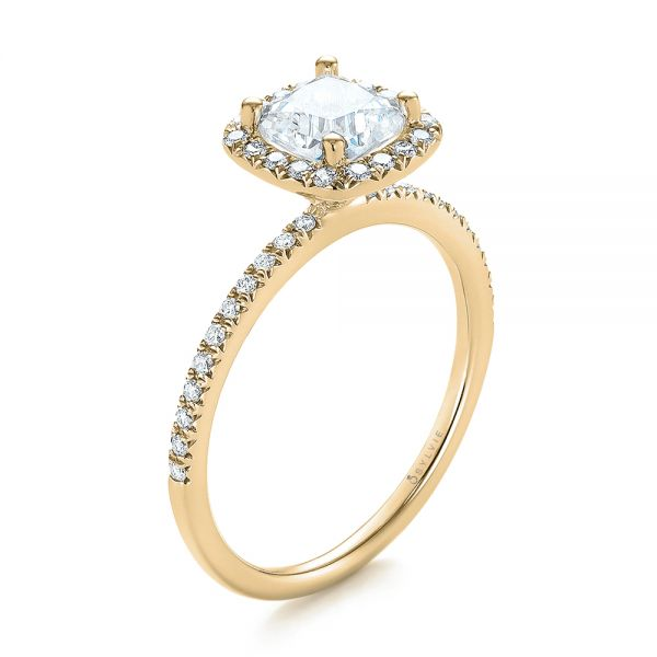18k Yellow Gold 18k Yellow Gold Cushion Halo Diamond Engagement Ring - Three-Quarter View -