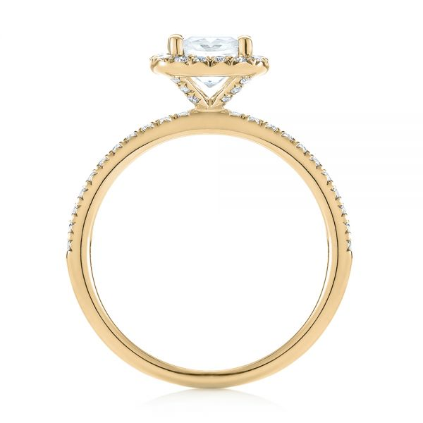 18k Yellow Gold 18k Yellow Gold Cushion Halo Diamond Engagement Ring - Front View -