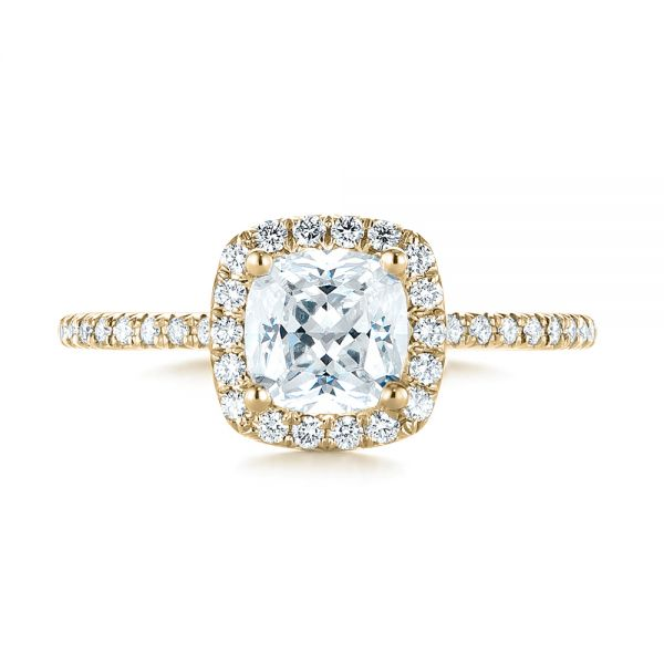 18k Yellow Gold 18k Yellow Gold Cushion Halo Diamond Engagement Ring - Top View -