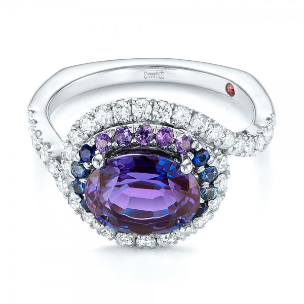 Custom Alexandrite, Blue and Purple Sapphire and Diamond Halo Engagement Ring - Laying View