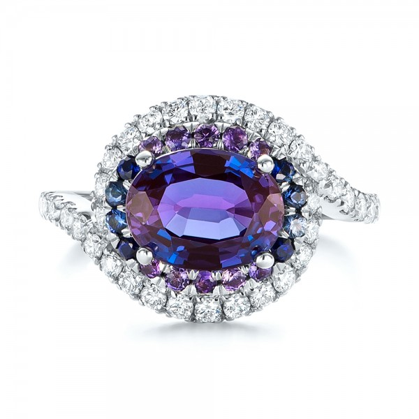 Custom Alexandrite, Blue and Purple Sapphire and Diamond Halo Engagement Ring - Top View