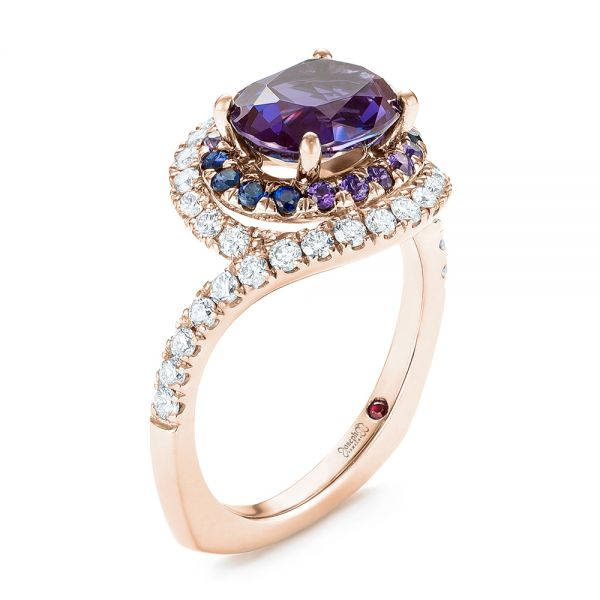 18k Rose Gold 18k Rose Gold Custom Alexandrite Blue And Purple Sapphire And Diamond Halo Engagement Ring - Three-Quarter View -