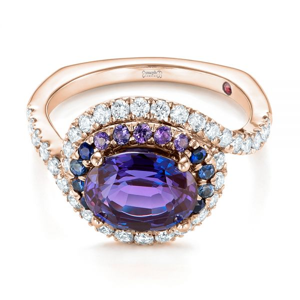 18k Rose Gold 18k Rose Gold Custom Alexandrite Blue And Purple Sapphire And Diamond Halo Engagement Ring - Flat View -