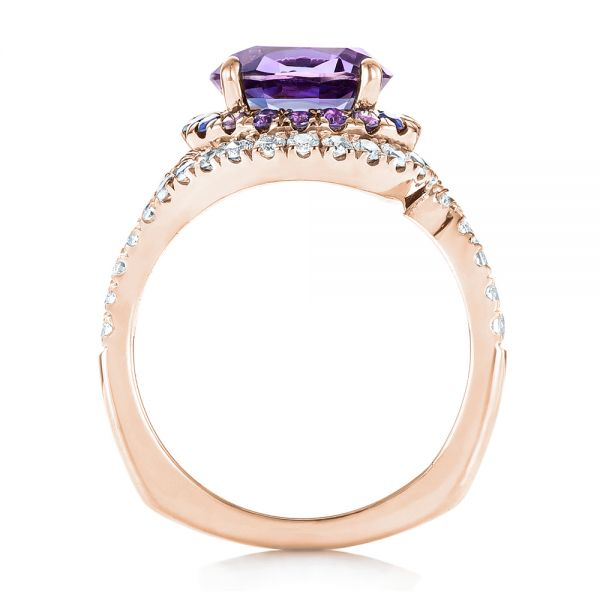 18k Rose Gold 18k Rose Gold Custom Alexandrite Blue And Purple Sapphire And Diamond Halo Engagement Ring - Front View -