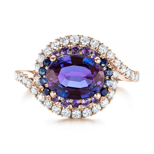 18k Rose Gold 18k Rose Gold Custom Alexandrite Blue And Purple Sapphire And Diamond Halo Engagement Ring - Top View -