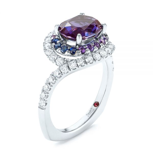 Custom Alexandrite, Blue and Purple Sapphire and Diamond Halo Engagement Ring - Image