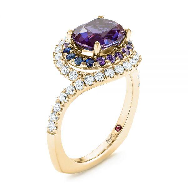 b485f0240425c Custom Alexandrite, Blue and Purple Sapphire and Diamond Halo Engagement  Ring