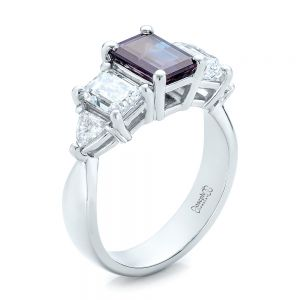 Custom Alexandrite and Diamond Engagement Ring - Image
