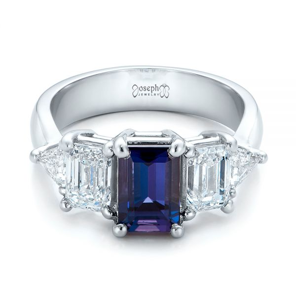 Custom Alexandrite and Diamond Engagement Ring - Flat View -  101995 - Thumbnail