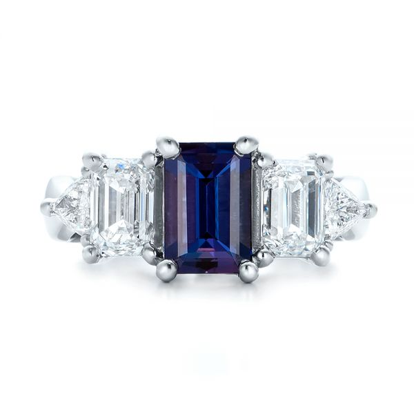 Custom Alexandrite and Diamond Engagement Ring - Top View -  101995 - Thumbnail