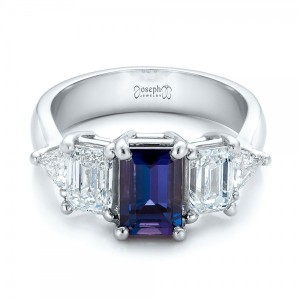 Custom Alexandrite and Diamond Engagement Ring