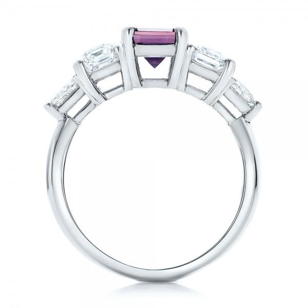 Custom Alexandrite and Diamond Engagement Ring - Finger Through View