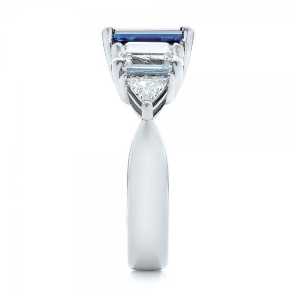 Custom Alexandrite and Diamond Engagement Ring - Side View