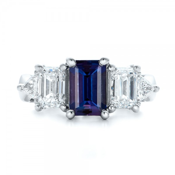 Custom Alexandrite and Diamond Engagement Ring - Top View