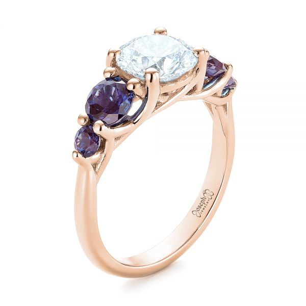 14k Rose Gold 14k Rose Gold Custom Alexandrite And Diamond Five Stone Engagement Ring - Three-Quarter View -  104691