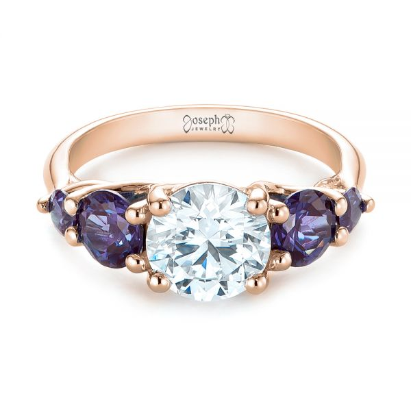 14k Rose Gold 14k Rose Gold Custom Alexandrite And Diamond Five Stone Engagement Ring - Flat View -  104691