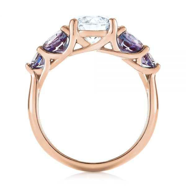 14k Rose Gold 14k Rose Gold Custom Alexandrite And Diamond Five Stone Engagement Ring - Front View -  104691
