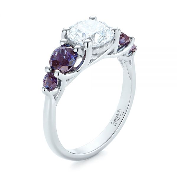 Custom Alexandrite and Diamond Five Stone Engagement Ring - Image