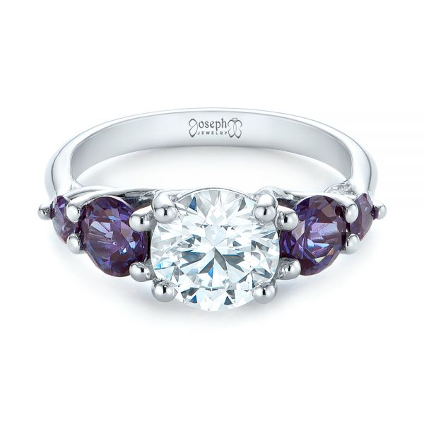 Custom Alexandrite and Diamond Five Stone Engagement Ring - Flat View -  104691 - Thumbnail