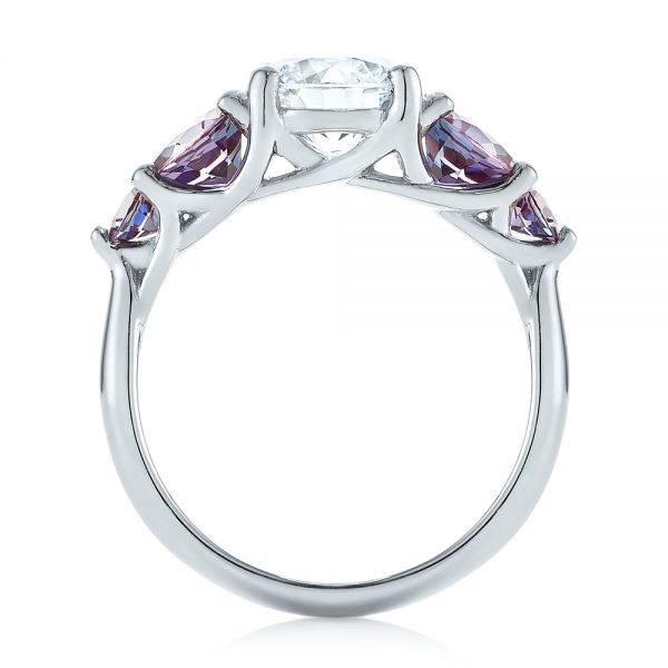 Platinum Custom Alexandrite And Diamond Five Stone Engagement Ring - Front View -  104691 - Thumbnail