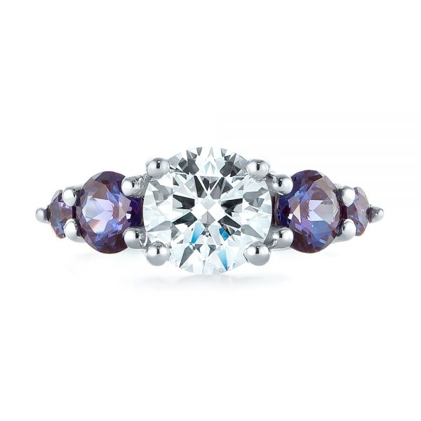 Platinum Custom Alexandrite And Diamond Five Stone Engagement Ring - Top View -  104691 - Thumbnail