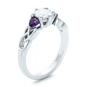 Custom Amethyst and Diamond Engagement Ring - Image
