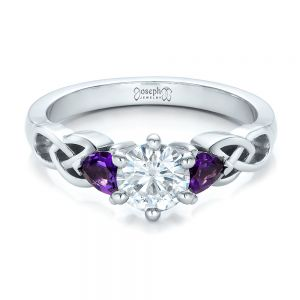 Custom Amethyst and Diamond Engagement Ring
