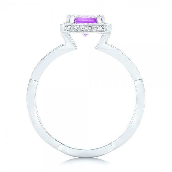 Custom Amethyst and Diamond Engagement Ring - Finger Through View
