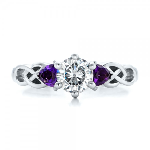 ... Custom Amethyst and Diamond Engagement Ring - Top View ...