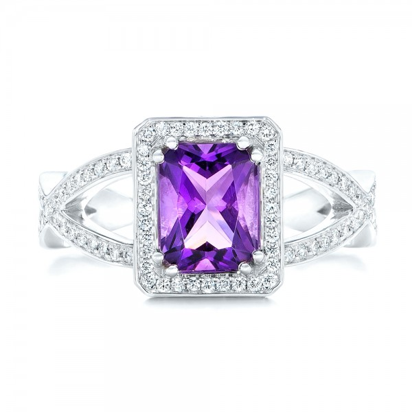 Custom Amethyst and Diamond Engagement Ring - Top View