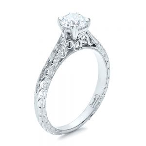 Custom Antique Hand Engraved Diamond Solitaire Engagement Ring - Image