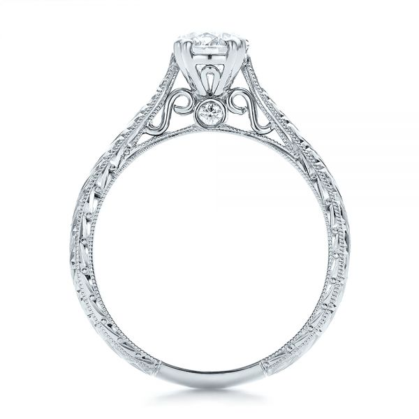 Custom Antique Hand Engraved Diamond Solitaire Engagement Ring - Front View -  100716 - Thumbnail
