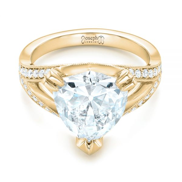 18k Yellow Gold 18k Yellow Gold Custom Antique Style Diamond Engagement Ring - Flat View -