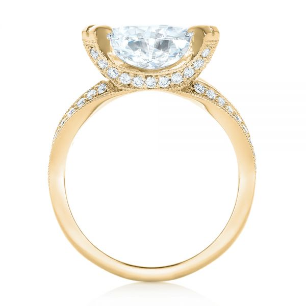 18k Yellow Gold 18k Yellow Gold Custom Antique Style Diamond Engagement Ring - Front View -