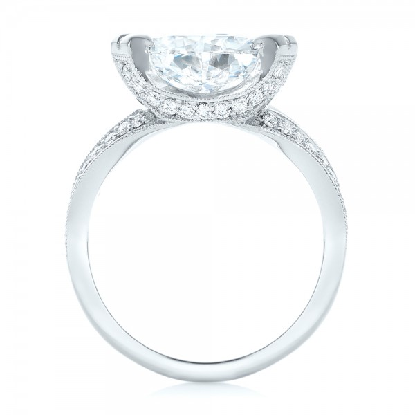 Custom Antique Style Diamond Engagement Ring - Finger Through View