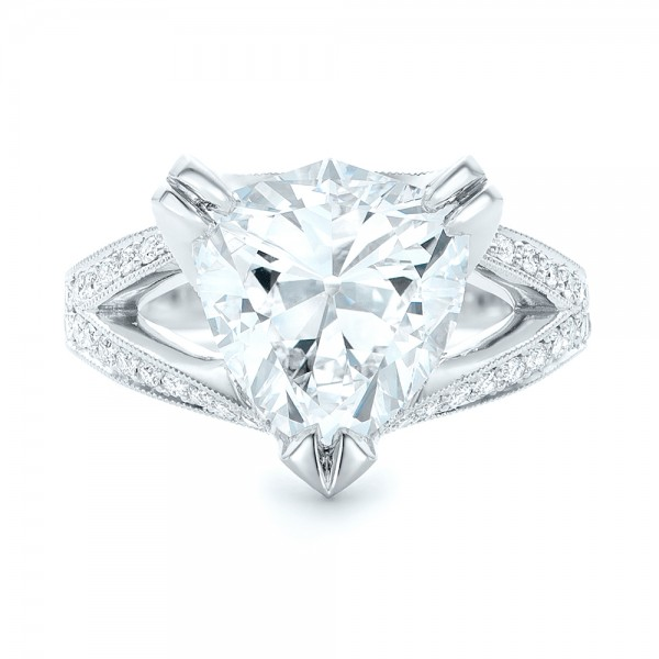 Custom Antique Style Diamond Engagement Ring - Top View