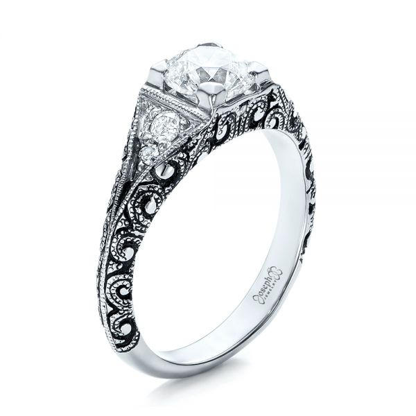 Custom Antiqued and Hand Engraved Diamond Engagement Ring - Three-Quarter View -  101290 - Thumbnail