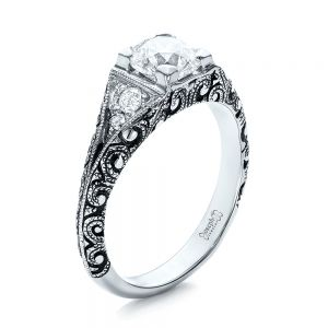 Custom Antiqued and Hand Engraved Diamond Engagement Ring - Image